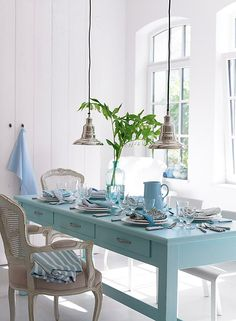 The Bright Painted Furniture Movement {Inspiration} Decor, Home, Beach House Decor, Bright Painted Furniture, Furniture, Interior, Blue Table, Cottage Decor, House Interior