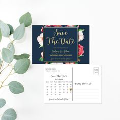 Printable Save The Date - Watercolor Floral Wedding Save The Date Card - Calligraphy Wedding Postcard - Faux Gold Foil Wedding Double Sided by OnionSisterCreative on Etsy Wedding Postcard, Wedding Menu, Blue Wedding, Save The Date Postcards, Save The Date Cards, Floral Wedding Save The Dates, Diy Wedding Inspiration, Watercolor Invitations, Seating Chart Wedding