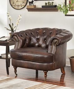 Take a look at this Declan Top Grain Leather Tufted Chair today!