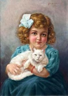 Hedwig Mechle-Grossmann (1857 – 1928, German) Girl with a Cat