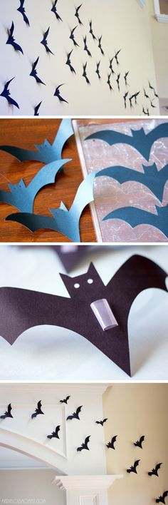 Wall of Bats   Click Pic for 27 DIY Halloween Decorating Ideas for Kids   Easy Halloween Party Decor Ideas for Kids