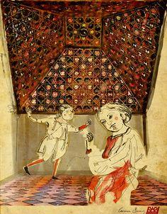 Carpinteros medievales bajo una armadura de lazo. © Carmen Bueno & Albanécar, 2014