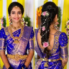 The subtle beauty! 😍 makes sure to only enhance her brides complexion, never change it -because a bride must always feel… Wedding Saree Blouse Designs, Half Saree Designs, Pattu Saree Blouse Designs, Fancy Blouse Designs, Saree Wedding, Bridal Hairstyle Indian Wedding, South Indian Bride Hairstyle, Bridal Hairdo, Indian Wedding Hairstyles