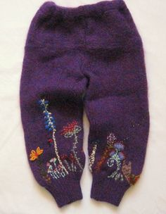recycled sweater pants with whimsical embroidery by atticusfinch