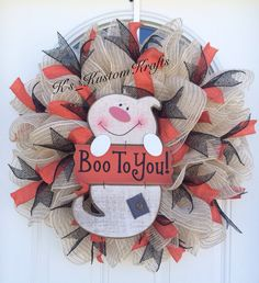Halloween Wreath, Boo To You, Halloween Decor, Ghost Wreath - pinned by pin4etsy.com