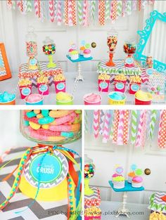 So cute! Love the colors and patterns!! Sweet Crush Candy Birthday Party Chevron via www.KarasPartyIdeas.com