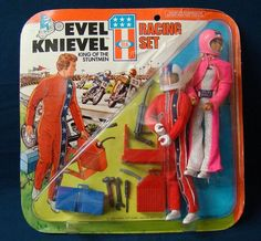 icollect247.com Online Vintage Antiques and Collectables - Evel Knievel Ideal Racing Set No. 3421-5 1975 Toys-Character