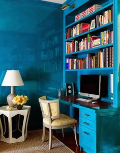 House of Turquoise: Tilton Fenwick lacquered blue walls House Of Turquoise, Blue Rooms, Blue Walls, Home Office, Corner Office, Office Nook, Office Spaces, Bauhaus, Bedroom Decor