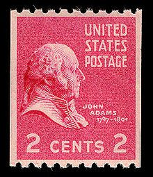 John Adams, as depicted in 1938 on a two-cent American president U.S. Postage stamp.