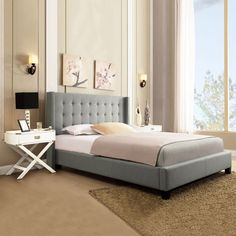 Wingback Grey Linen King Bed