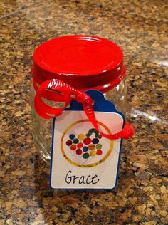 Repurposed Baby Food Jar to use for Candy Jar Favor First Birthday Parties, First Birthdays, Birthday Ideas, Hungry Caterpillar Party, Baby Food Jars, Candy Jars, Repurposing, Baby Food Recipes, Diy For Kids