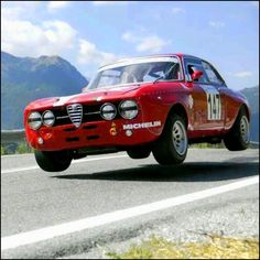 An Alfa Romeo GTA out to get some air.