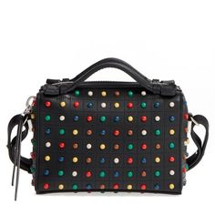 Women's Tod's Micro Diodon Rainbow Studded Leather Bowler Bag (2,055 CAD) ❤ liked on Polyvore featuring bags, handbags, rainbow, genuine leather handbags, top handle purse, top handle leather handbags, tods purses and real leather handbags