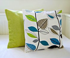 Color Block Stripe Pillow In Lime Green Navy And Natural Linen Set Of 2 By Ji
