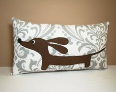 This Dachshund pillow is sure to add some fun and whimsy to your home! :)  This sweet pillow features our curved rich chocolate brown faux