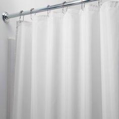 InterDesign Waterproof Polyester Shower Curtain/Liner, White
