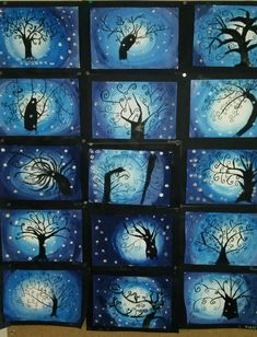 L'arbre en hiver PlusL'arbre en hiver A gradient of white - blue then drawing of a tree in the manner of Gustav Klimt and finally, decoration with aluminum paper.Der Baum des Lebens (im Winter) / Jazz Photo Source Winter Art Projects, Winter Project, Middle School Art, Art School, Classe D'art, January Art, 4th Grade Art, Art Lessons Elementary, Winter Trees