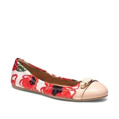 Coach Delphine Push Lock Ballet Flat ($158) ❤ liked on Polyvore