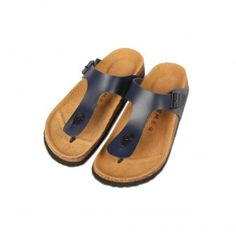 Cork Footbed Slippers (Navy Blue)
