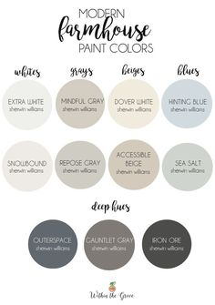 Modern Farmhouse Paint Colors - Within the Grove can find Modern and more on our website.Modern Farmhouse Paint Colors - Within the Grove Farmhouse Paint Colors, Paint Colors For Home, Paint Colours, Paint Colors For Basement, Home Colors, Outside House Paint Colors, Magnolia Paint Colors, Off White Paint Colors, Lowes Paint Colors