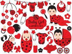 ITEM: Baby Ladybug Clipart - Vector Baby Ladybug Clipart, Baby Shower Ladybug Clipart, Ladybird Baby #clipart  #vector #illustration #thecreativemill