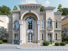 Classic House Exterior, Classic House Design, Modern House Design, House Outside Design, House Front Design, Village House Design, Bungalow House Design, Exterior Tradicional, House Plans Mansion