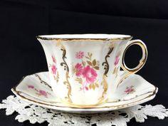 Vintage Royal Tara Tea Cup and Saucer, Rare Pink Rose Floral Teacup Made in Ireland J-1724