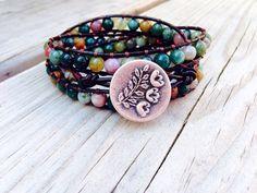 Triple Leather Wrap Bracelet - Earthy Boho Bracelet