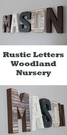 Personalized Letters - Custom Letters - Baby Boy Wooden Letters - Forest Nursery - Rustic Nursery - Woodland Nursery - Name Sign for Nursery #ad