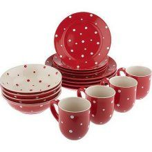 red and white polka dot... I'm thinking Christmas dishes!