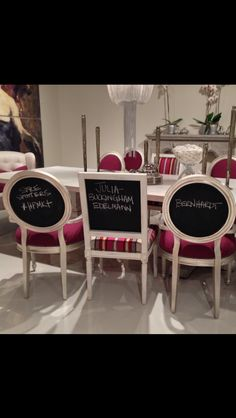 """What a fabulous dinner party conversation starter! Just think of the fun you could have with these chalkboard backed """"Percy""""(square back) and """"Louis"""" (round back) Bernhardt chairs at your next bash. Available in tons of choices using COM. I couldn't help it but to tout our Style Spotting :) @bernhardtinc @hpmarketnews #hpmkt #modernique @IMCHighPointMkt @highpointmarket IHFC Suite 601"""