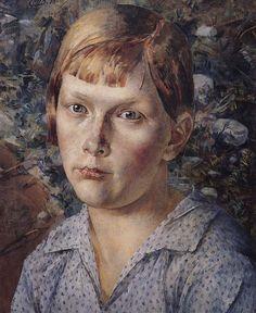 Девочка в лесу. 1938. Петров-Водкин Кузьма Сергеевич (1878-1939). Описание картины, скачать репродукцию.