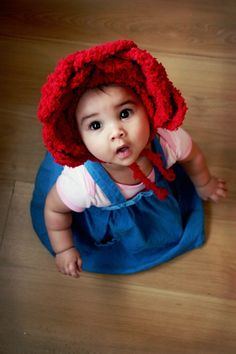 6 to 12m Baby Red Rose Flower Hat Baby Bonnet  Crochet by BabaMoon, $28.00