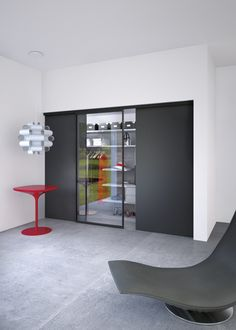 Universal - Products - Ternoscorrevoli - Sliding systems for doors, for furniture and for glass Double Sliding Doors, Sliding Door Systems, Vertical Doors, Laminated Glass, Aluminium Doors, Wooden Doors, Dark Colors, Clean Lines, Architects