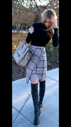 Stitch Fix Fall & Winter Fashion. Black turtleneck, wool knee length plaid skirt. knee boots. Business fashion. Work to Date night outfit.