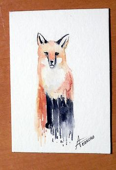 """ACEO ORIGINAL """"FOX"""" WITH CERTIFICATE OF AUTHENTICITY"""