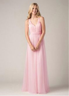 Chic Tulle V-neck Neckline Floor-length A-line Bridesmaid Dress #EidelPrecious