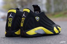Latest information about Air Jordan 14 Thunder. More information about Air Jordan 14 Thunder shoes including release dates, prices and more. Nike Air Jordans, Air Jordan Sneakers, Sneakers Mode, Sneakers Fashion, Shoes Sneakers, Nike Free Shoes, Nike Shoes Outlet, Air Jordan 14, Running Shoes Nike