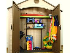 Indoor-Outdoor Storage Closet - 10 Best Pool and Beach Accessories for Summer on HGTV Patio Storage, Wood Storage Sheds, Kayak Storage, Outdoor Storage Sheds, Pool Towel Storage, Indoor Outdoor, Outdoor Living, Outdoor Pool, Bedroom Closet Storage