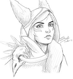 Xayah Line Work by MuddyMink Legends Of Legends, League Of Legends Jhin, Legends And Myths, Desenhos League Of Legends, Legend Drawing, Horror Drawing, Anime Drawings Sketches, Mermaid Drawings, Unique Drawings