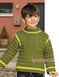 Пуловер фисташкового цвета со структурным узором, для мальчика 2-8 лет. Вязание спицами