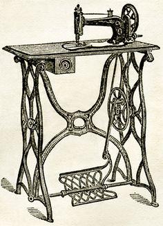 machine à coudre en noir et blanc