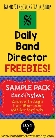 Get daily freebies from BandDirectorsTalkShop.com! You'll find great resources for band directors including lesson plans, music theory games, posters, bulletin board word walls, editable back-to school checklists, instrument care sheets, ideas for engaging your students and more! http://banddirectorstalkshop.com/