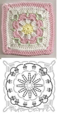 Crochet Granny Square Patterns Crochet Granny Square Rose S - Salvabrani Crochet Stitches Chart, Granny Square Crochet Pattern, Crochet Flower Patterns, Crochet Mandala, Crochet Diagram, Crochet Squares, Crochet Blanket Patterns, Crochet Motif, Crochet Flowers