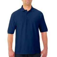 Jerzees Easy Care Men's Short Sleeve Polo, Size: Large, Blue
