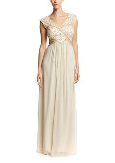 On ideel: SUE WONG V-Neck Beaded Bodice Gown