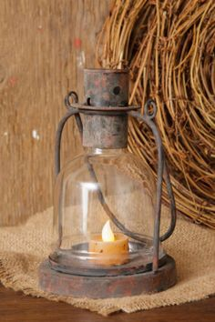 $15 Primitive-Country-Rustic-Vintage-Cast-Iron-amp-Glass-Globe-Candle-Holder