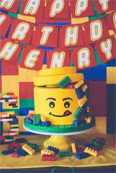Incredible Lego Cake from a Lego Birthday Party via Kara's Party Ideas