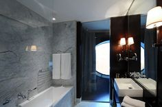 Modern New Hotel in Vienna: New Houses Bath Window Design Of Hotel Topazz By BWM Architekten Und Partner With White Tub Design Hotel, Bathroom Furniture, Bathroom Interior, Bathroom Ideas, Luxury Interior, Home Interior Design, Exterior Design, Bath Window, Vienna Hotel