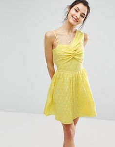 442d77c79350 ASOS One Shoulder Mini Sundress in Dobby Fabric - Yellow One Shoulder Prom  Dress, One